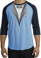 Tuxedo T-Shirt Raglan With White Flower - Carolina Blue/Navy