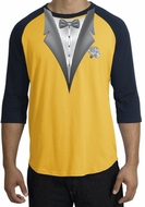 Tuxedo T-Shirt Raglan With White Flower - Gold/Navy