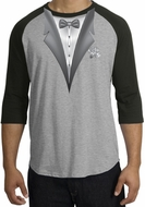 Tuxedo T-Shirt Raglan With White Flower - Heather Grey/Black