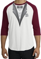Tuxedo T-Shirt Raglan With White Flower - White/Cardinal