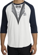 Tuxedo T-Shirt Raglan With White Flower - White/Navy