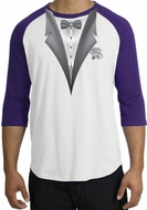Tuxedo T-Shirt Raglan With White Flower - White/Purple