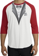 Tuxedo T-Shirt Raglan With White Flower - White/Red