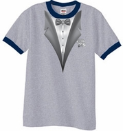 Tuxedo T-Shirt Ringer With White Flower - Heather Grey/Navy