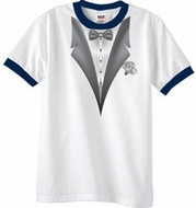Tuxedo T-Shirt Ringer With White Flower - White/Navy
