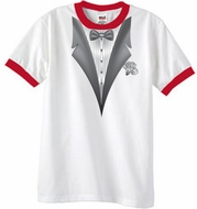 Tuxedo T-Shirt Ringer With White Flower - White/Red