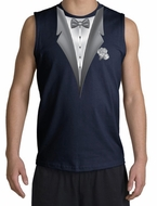 Tuxedo T-Shirt Shooter With White Flower - Navy