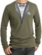 Tuxedo T-Shirt Thermal Long Sleeve With White Flower - Army Green