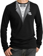 Tuxedo T-Shirt Thermal Long Sleeve With White Flower - Black