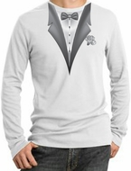 Tuxedo T-Shirt Thermal Long Sleeve With White Flower - White