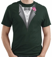 Tuxedo T-shirt With Pink Flower - Adult