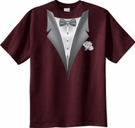 Tuxedo T-shirt With White Flower - Athletic Maroon