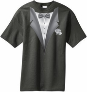 Tuxedo T-shirt With White Flower - Charcoal Gray