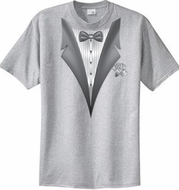 Tuxedo T-shirt With White Flower - Heather Gray
