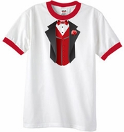 Tuxedo T-Shirts Ringer With Red Vest