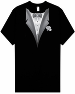 Tuxedo T-shirts - Tall Size - Tux with White Flower