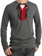 Tuxedo T-Shirts Thermal Long Sleeve With Red Vest