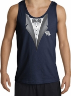 Tuxedo Tank Top with White Flower - Navy blue
