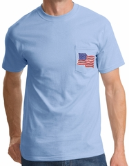 USA American Waving Flag Pocket T-shirt