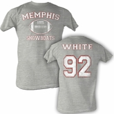 USFL Memphis Showboats T-shirt Reggie White Adult Gray Tee Shirt