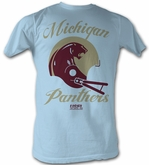 USFL Michigan Panthers T-shirt Football League Adult Light Blue Tee