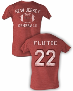 USFL New Jersey Generals T-shirt Flutie Adult Red Tee Shirt