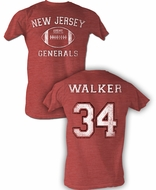 USFL New Jersey Generals T-shirt Herschel Walker Adult Red Heather Tee