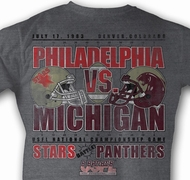 USFL T-shirt Philadelphia VS Michigan Adult Gray Tee Shirt