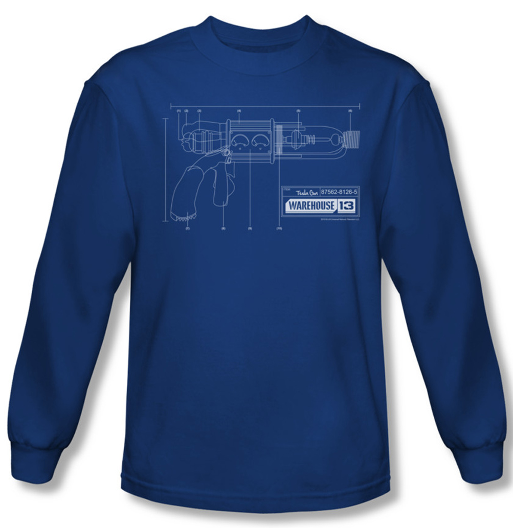 Warehouse 13 Shirt Tesla Gun Long Sleeve Royal Blue Tee T