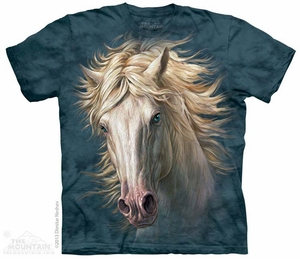White Horse Portrait Shirt Tie Dye Adult T-Shirt Tee