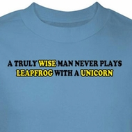 Wise Man Shirt Never Plays Leapfrog With A Unicorn Blue Tee T-shirt
