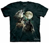 Wolf Kids Shirt Tie Dye Three Wolves Moon T-shirt Tee Youth