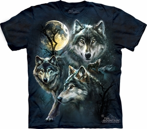Wolf Shirt Moon Wolves Collage T-shirt Tie Dye Adult Tee