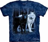 Wolf Shirt Tie Dye Black & White Wolves T-shirt Adult Tee