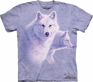 Wolf Shirt Tie Dye Graceful White Wolves T-shirt Adult Tee