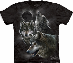 Wolf Shirt Tie Dye Moon Eclipse Wolves T-shirt Adult Tee