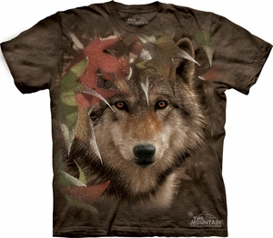 Wolf Shirt Tie Dye T-shirt Wolves Autumn Encounter Adult Tee