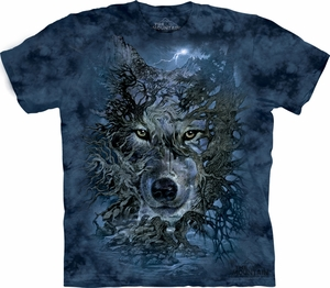 Wolf Shirt Tie Dye T-shirt Wolves Tree Adult Tee
