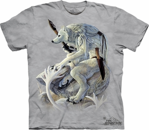 Wolf Shirt Tie Dye White Spirit T-shirt Adult Tee