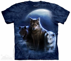 Wolves at Night Shirt Tie Dye Adult T-Shirt Tee