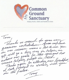 Thank You Letter From Common Ground Sanctuary - Nov. 2004
