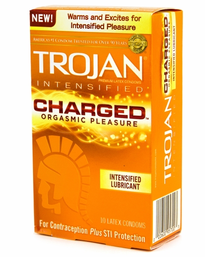 trojan charged condoms size