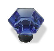 "Acrylic Cobalt Blue Knob w/ Oil Rubbed Bronze Base - 1 1/4"" LQ-085-03-2903"