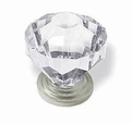 "Diamond Clear Acrylic Knob 1-1/4"" Satin Nickel Base K39-CK147-SN"