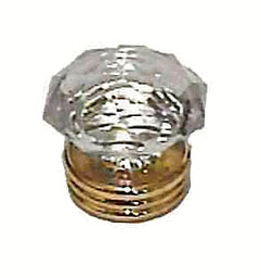"Diamond Cut Clear Acrylic Knob - Large Three Ring Base - Brass Plated 1-3/8"" K39-CK236"