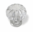 "Knob Small 1-1/16"" Clear Acrylic Pumpkin Shaped Satin Nickel Base K39-CK153S-SN"
