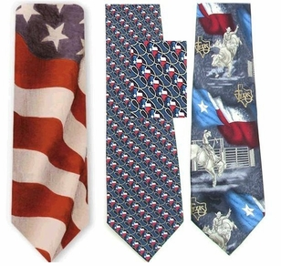 1/2 PRICE!! Ralph Marlin & Tango Designer Silk American Flag & Texas Ties