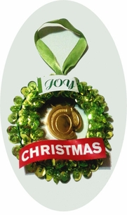 "Brass ""At Sign"" Key Ring included with this Festive Wreath Ornament!"