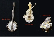 Banjo, Violin, and Grand Piano Rhinestone Pins