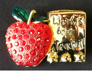 Best Teacher Apple Rhinestone Pin with Book - CLOSEOUT! -only 5 left!